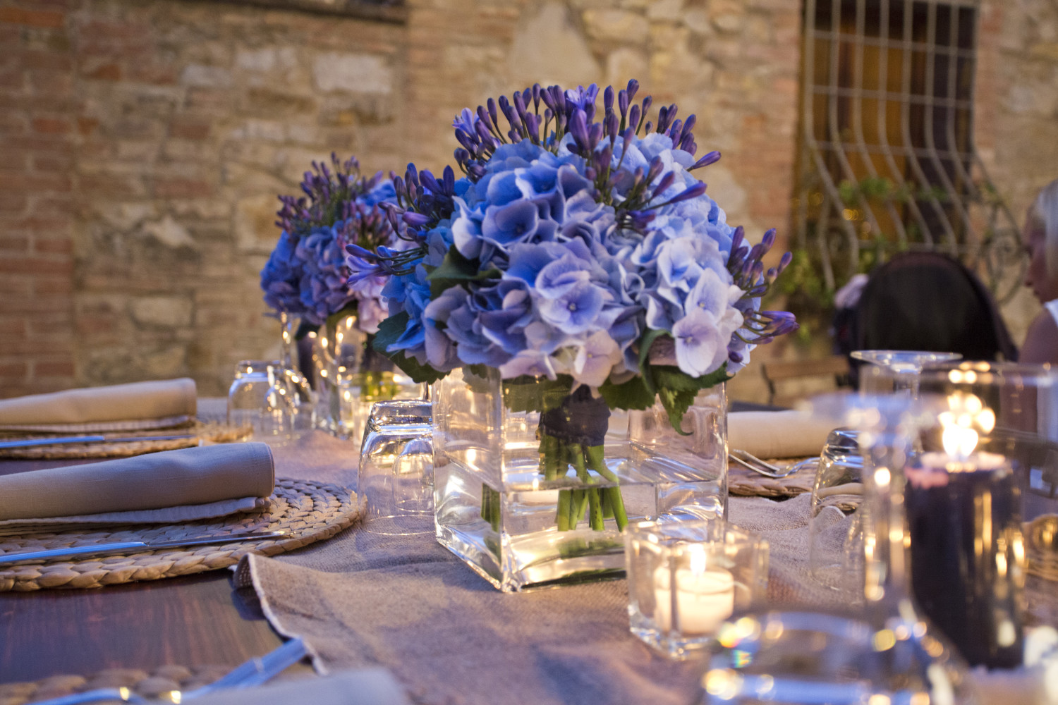 Wedding Flowers Blue Centerpiece