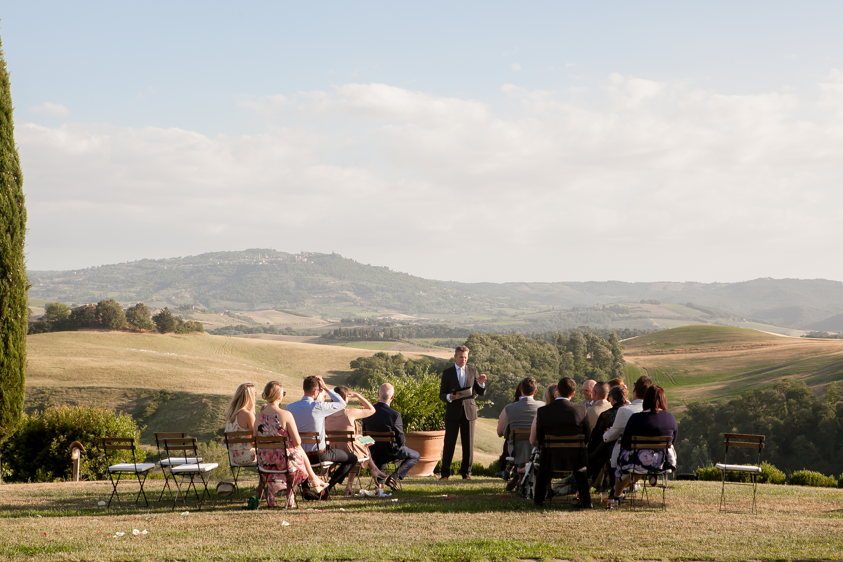 Outdoor ceremony, countryside wedding in Tuscany