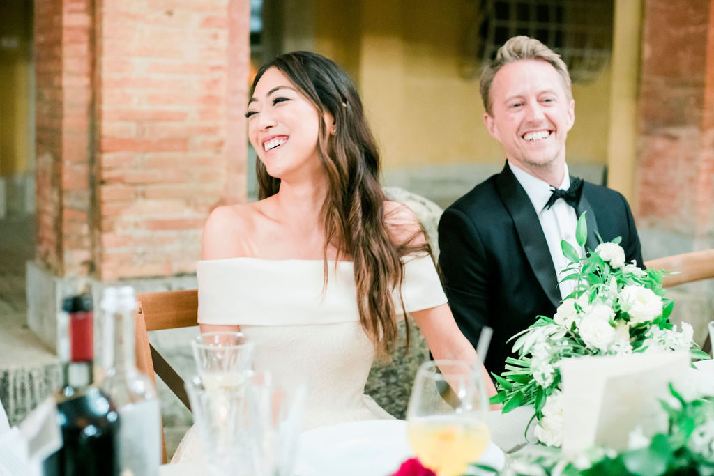 Smiling couple - Wedding at Villa La Foce - Italian Wedding Designer