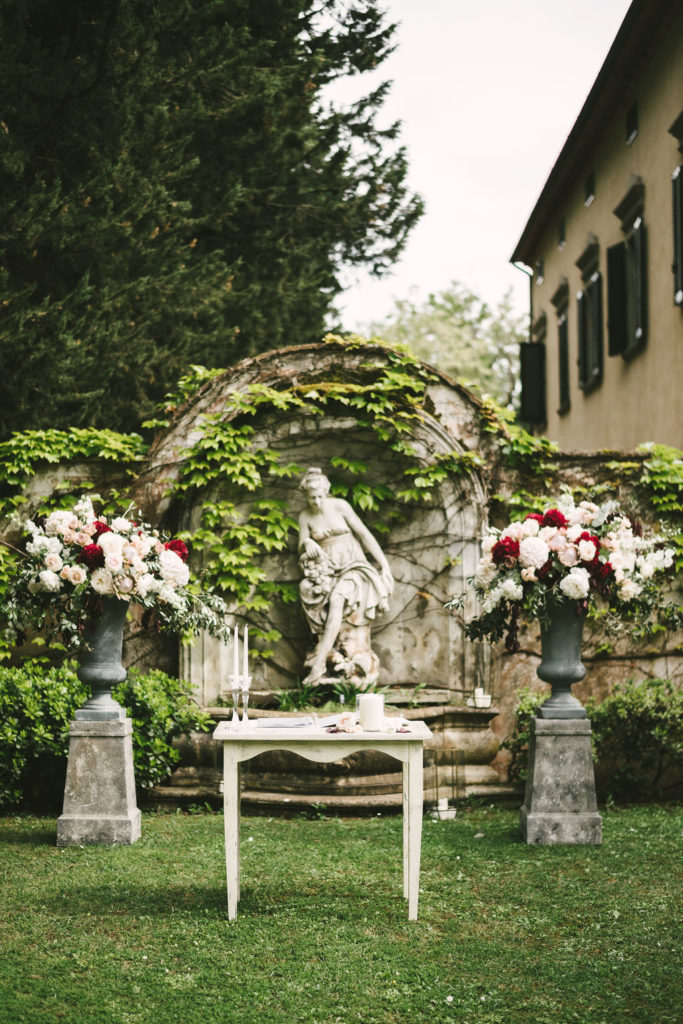 Outdoor Ceremony Manolo Blahnik shoes - Wedding at Villa La Selva - Italian Wedding Designer
