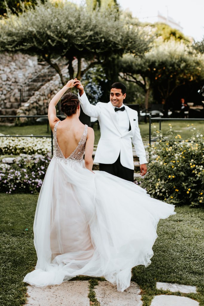 First Look before the ceremony Hotel Caruso Wedding - Italian Wedding Designer