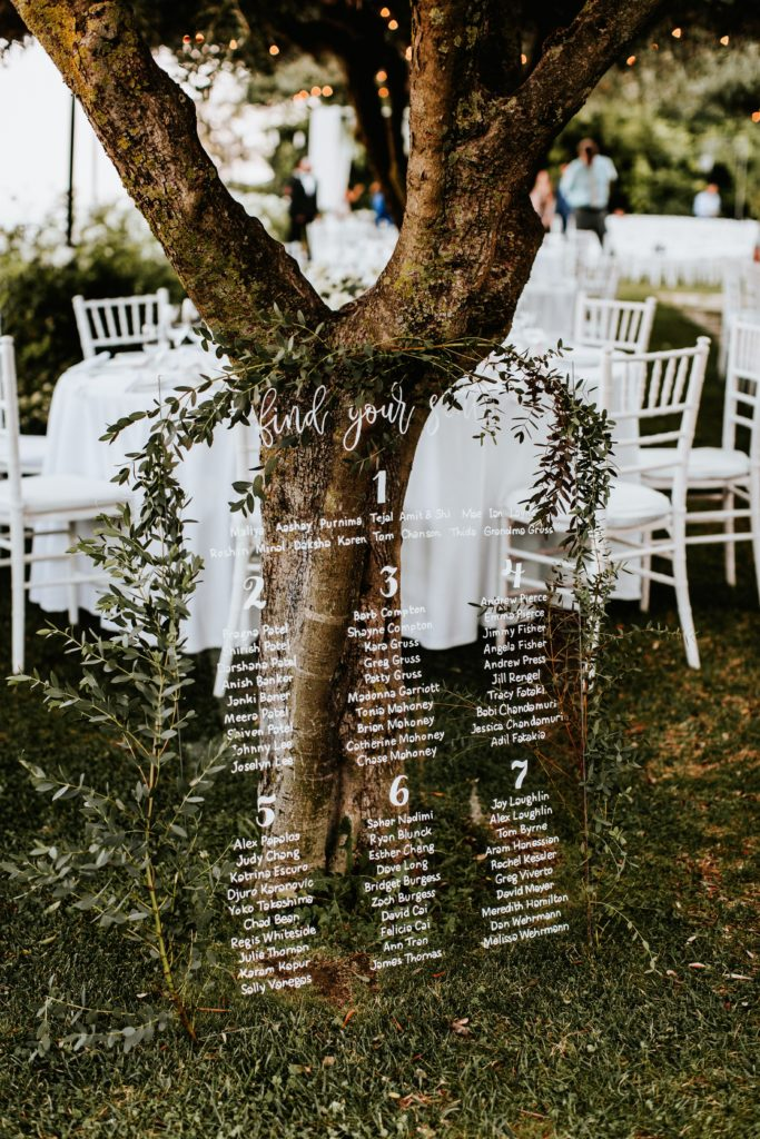 Glass Table Plan - Hotel Caruso Wedding - Italian Wedding Designer