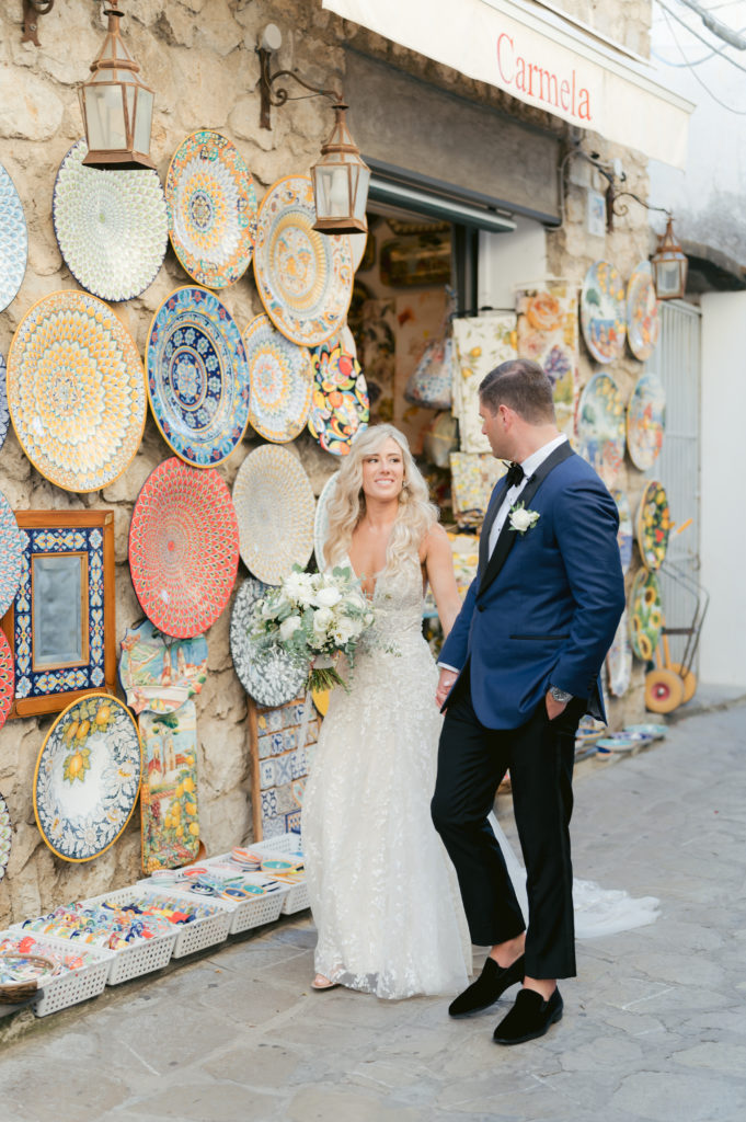 Bride & Groom walking in Ravello - Destination Wedding in Ravello - Italian Wedding Designer