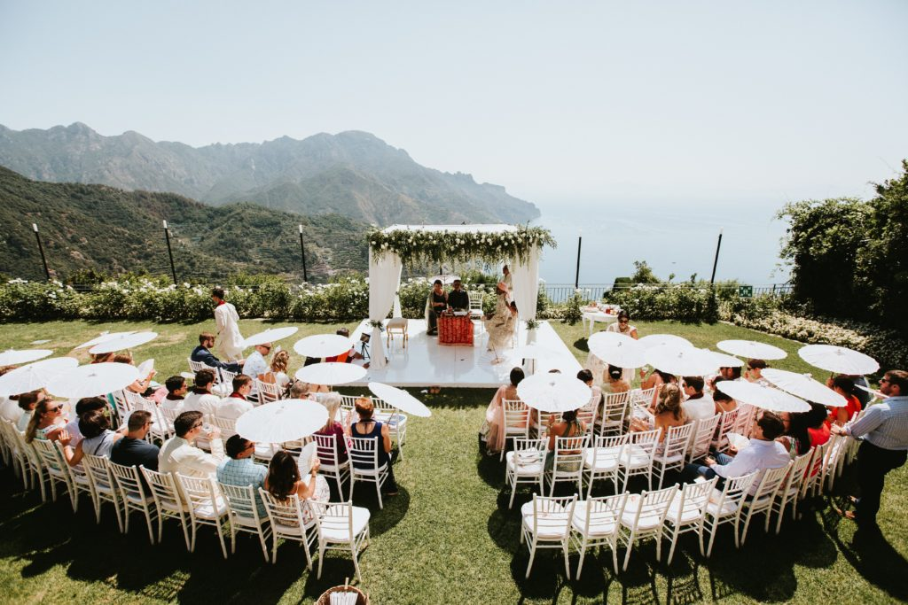 Ceremony overlooking the sea - Hindu wedding at Hotel Caruso in Ravello - Italian Wedding Designer