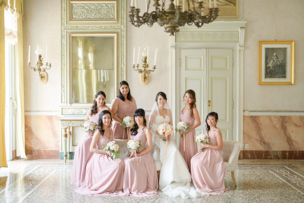 Bride & Bridesmaids portrait Stunning wedding at Villa Pizzo - Italian Wedding Designer