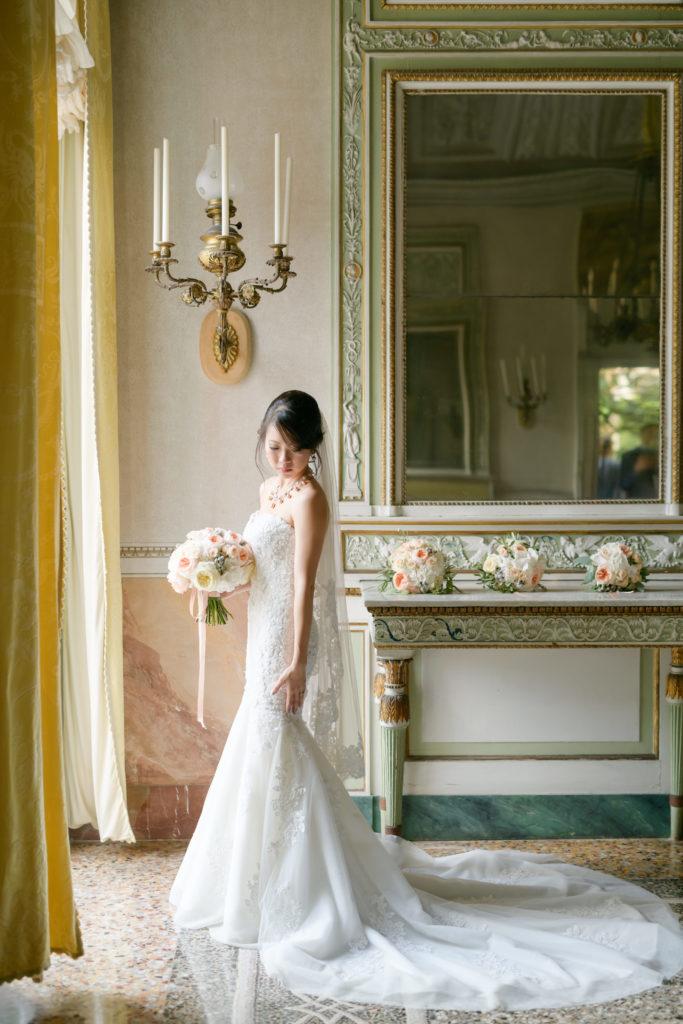 Bride portrait indoor Stunning wedding at Villa Pizzo - Italian Wedding Designer
