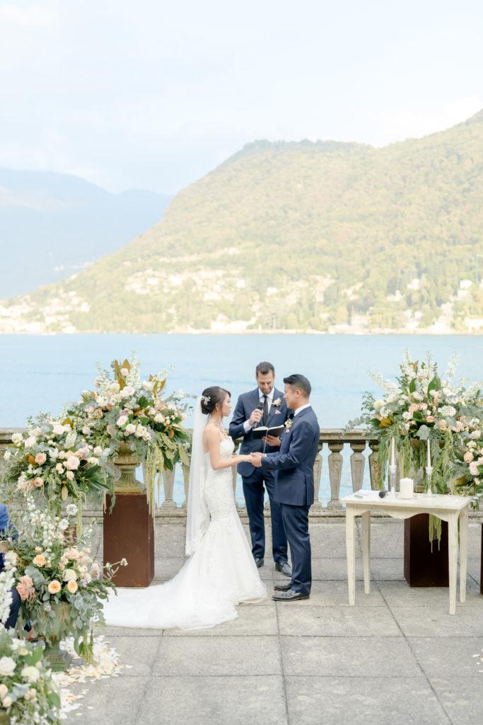 Ceremony on Como Lakeshore Stunning wedding at Villa Pizzo - Italian Wedding Designer
