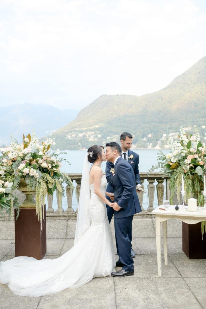 First Kiss Stunning wedding at Villa Pizzo - Italian Wedding Designer