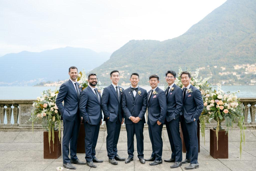 Blue Groomsmen outfit Stunning wedding at Villa Pizzo - Italian Wedding Designer