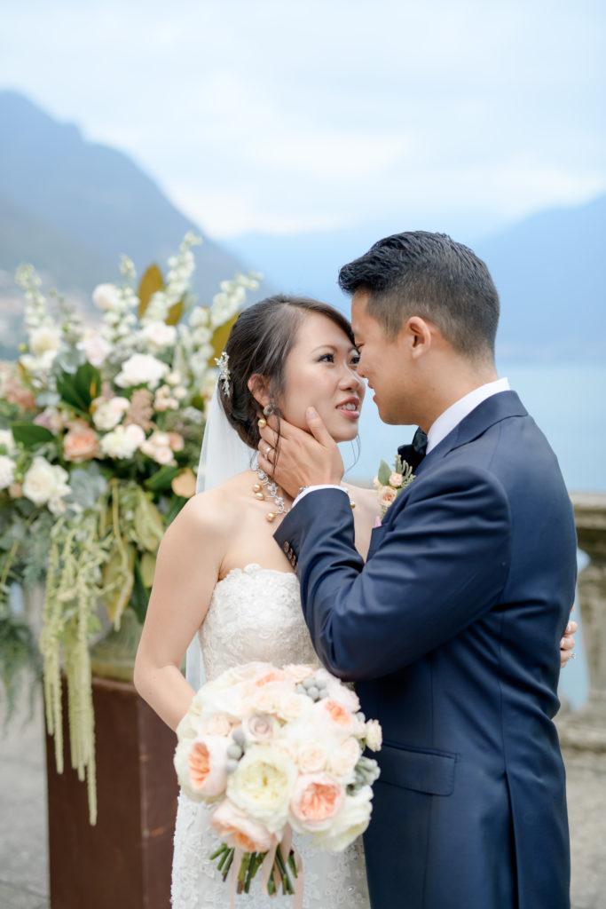 couple portrait Stunning wedding at Villa Pizzo - Italian Wedding Designer