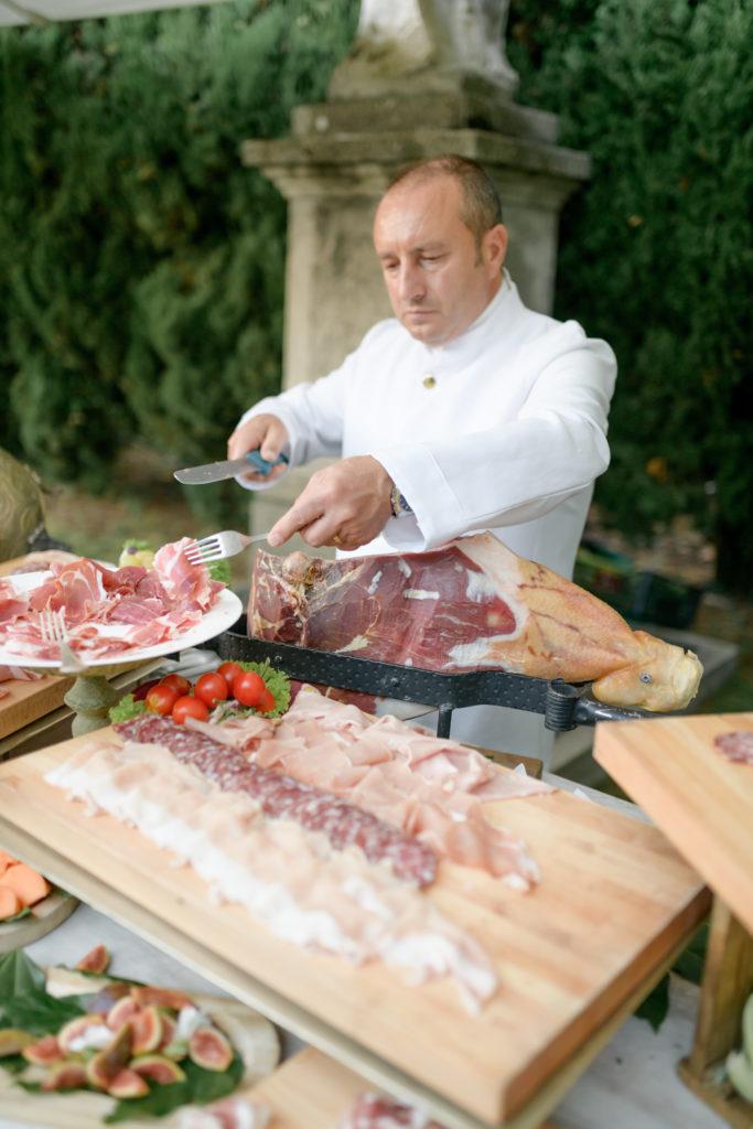 Cold meats corner Stunning wedding at Villa Pizzo - Italian Wedding Designer