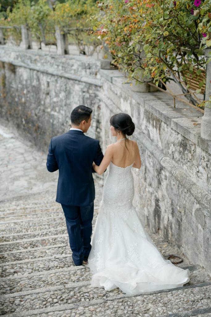 Bride & Groom Promenade xStunning wedding at Villa Pizzo - Italian Wedding Designer