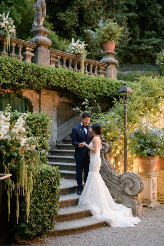 Couple in the Dinner area Stunning wedding at Villa Pizzo - Italian Wedding Designer