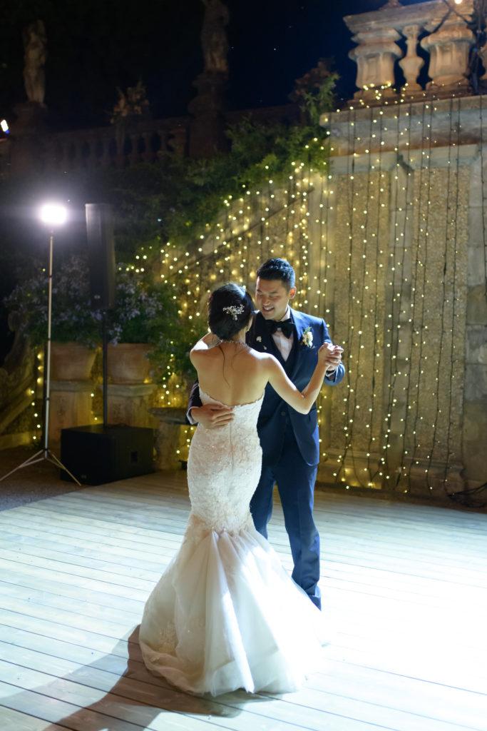Bride and Groom first dance Stunning wedding at Villa Pizzo - Italian Wedding Designer