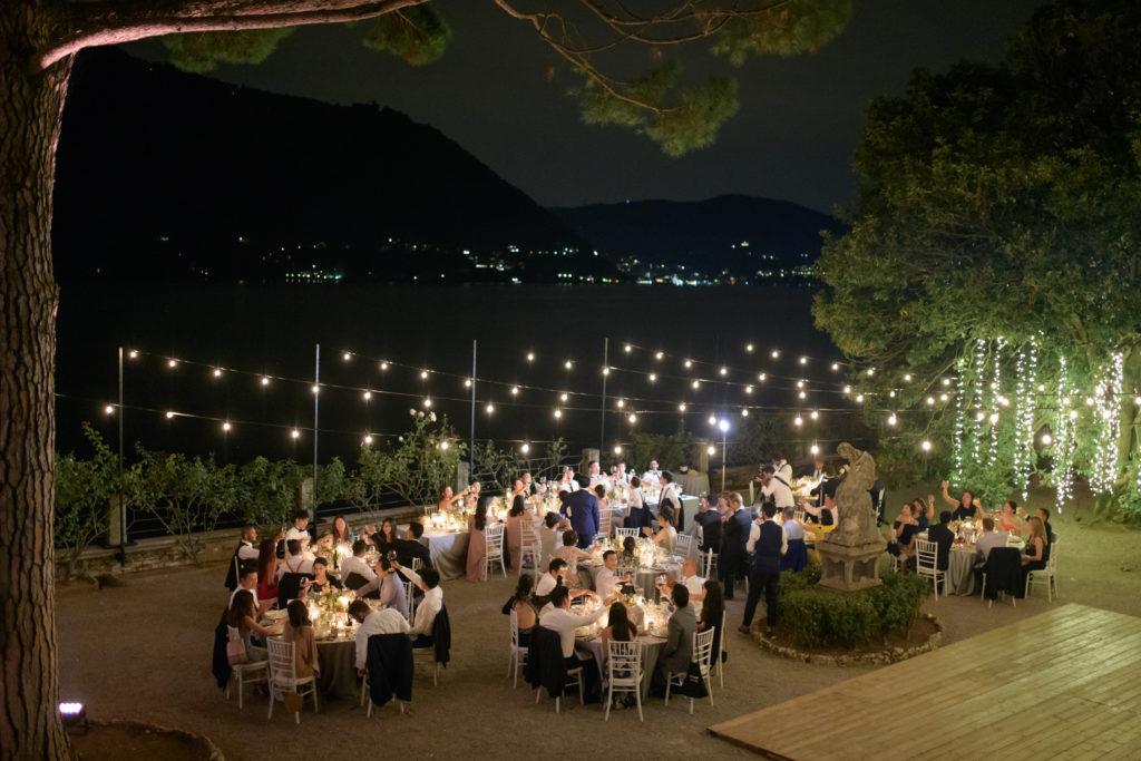 Dinner area at nights at Villa Pizzo Stunning wedding at Villa Pizzo - Italian Wedding Designer