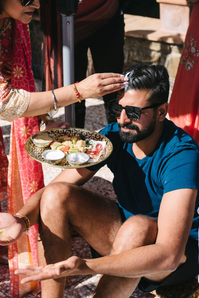 Groom to be during Haldi Ceremony - Indian Wedding in Tuscany - Italian Wedding Designer