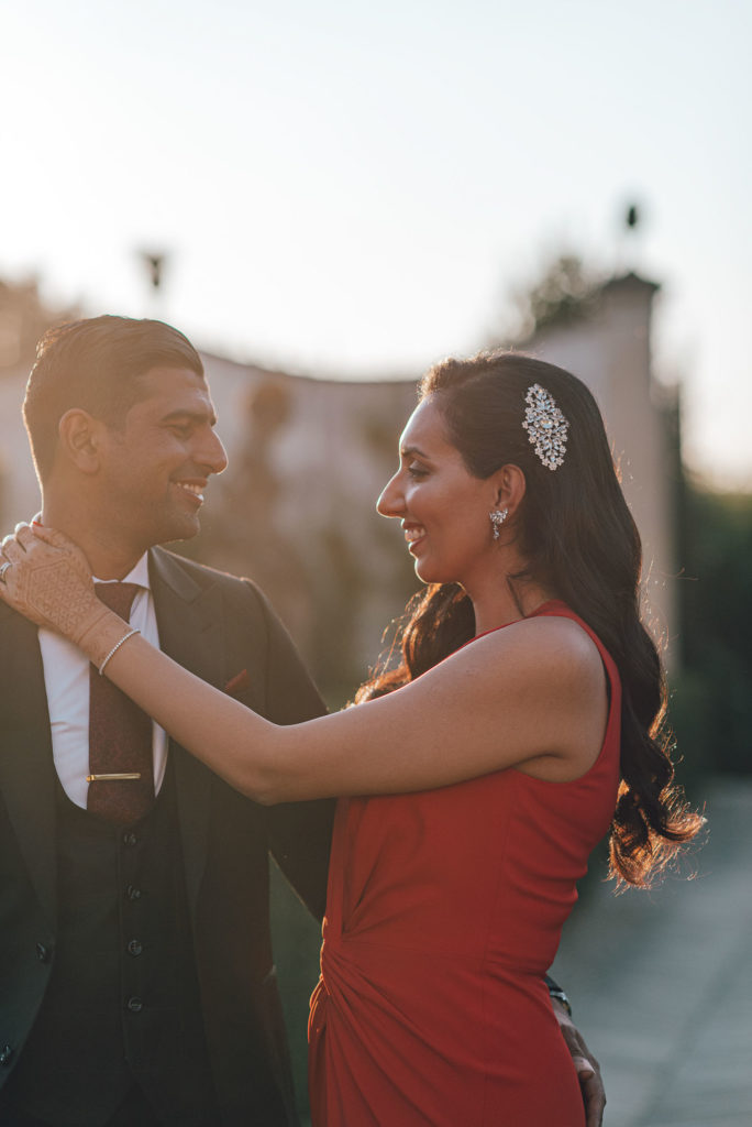Wedding couple portrait at Villa Le Piazzole Sikh ceremony Priest in Italy by Italian Wedding Designer
