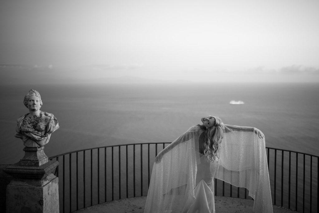 Bride on the Infinity Terrace - Wedding at Villa Cimbrone - Italian Wedding Designer