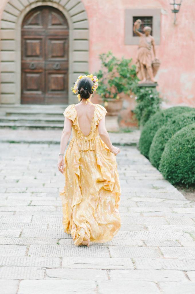 Welcome dinner Bride to be dress- Wedding at Villa Vignamaggio - Italian Wedding Designer