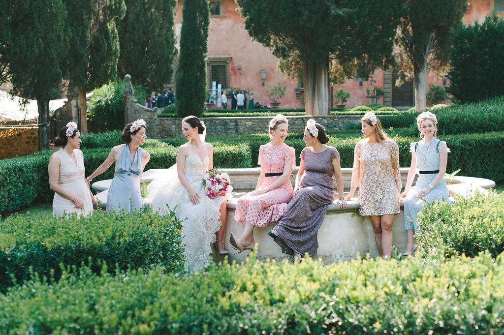 Bride & Bridesmaids portrait- Wedding at Villa Vignamaggio - Italian Wedding Designer