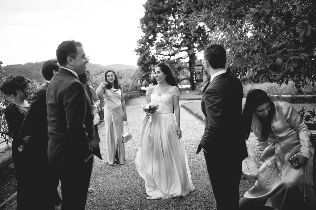 Bride and Groom at the Aperitif - A Persian Wedding in Italy - Italian Wedding Designer