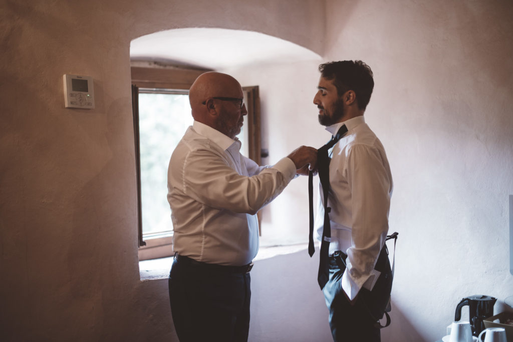 Groom and his father - Wedding at Castello di Meleto - Italian Wedding Designer