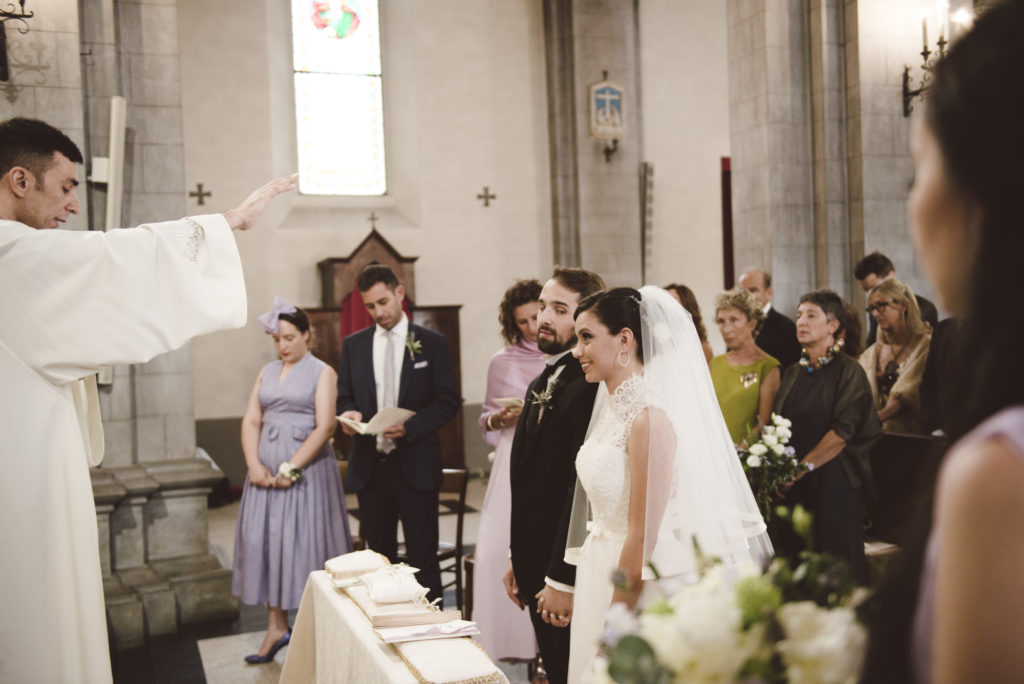 Bride and Groom at the Altar- Wedding at Castello di Meleto - Italian Wedding Designer