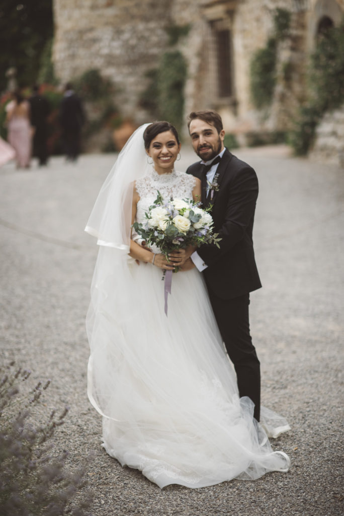 Bride and Groom portrait - Wedding at Castello di Meleto - Italian Wedding Designer