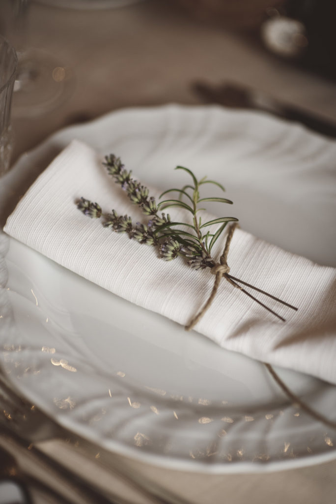 Lavander on the napkin- Wedding at Castello di Meleto - Italian Wedding Designer