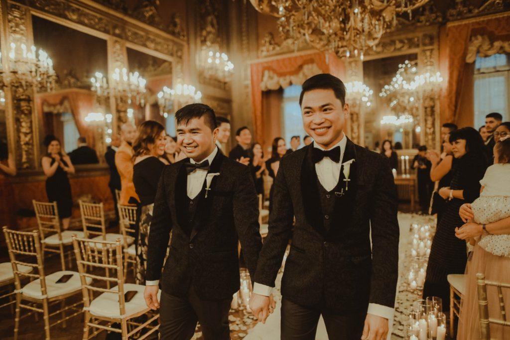 Groom & Groom at Palazzo Borghese - Same-Sex Wedding in Italy - Italian Wedding Designer