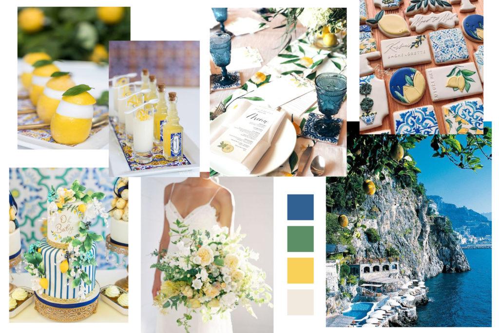 Yellow and Blue Wedding Mood Board - Italian Wedding Designer