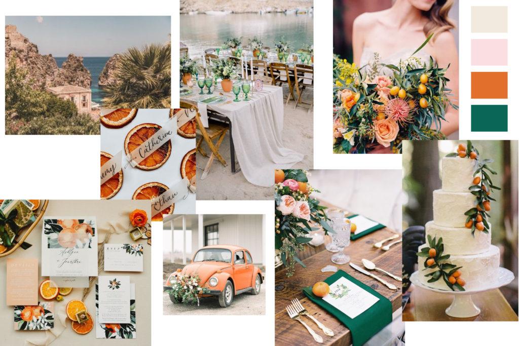 Orange Citrus Wedding Mood Board - Italian Wedding Designer